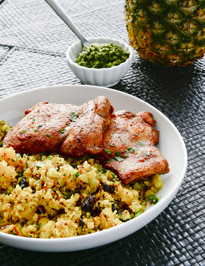 Tandoori Chicken with Curry Cauliflower Pineapple Rice | meljoulwan.com
