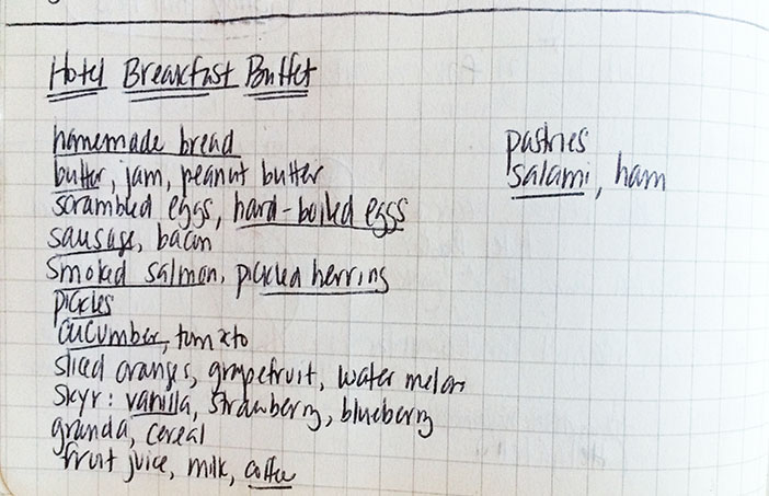 Snippet of Melissa Joulwan's Reykjavik travel journal with list of buffet foods