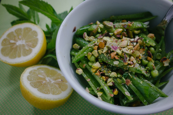 Snap Peas with Lemon, Pistachios, and Mint | meljoulwan.com